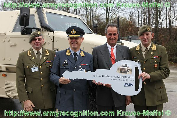 Only three weeks after the order agreement between the Norwegian Army and Krauss-Maffei Wegmann (KMW) on October 29th this year, the first ten of 20 DINGO 2 heavily armoured vehicles have been delivered to a delegation of the Norwegian Armed Forces in Munich (Germany) under the lead of Major General Trond R. Karlsen, the head of the Norwegian Procurement Agency NDLO. The vehicles are now on their way to Afghanistan, where KMW service personnel will make them operational for theatre. Parallel to the production of the vehicles Norwegian soldiers were trained by KMW in maintaining and operating the DINGO 2.