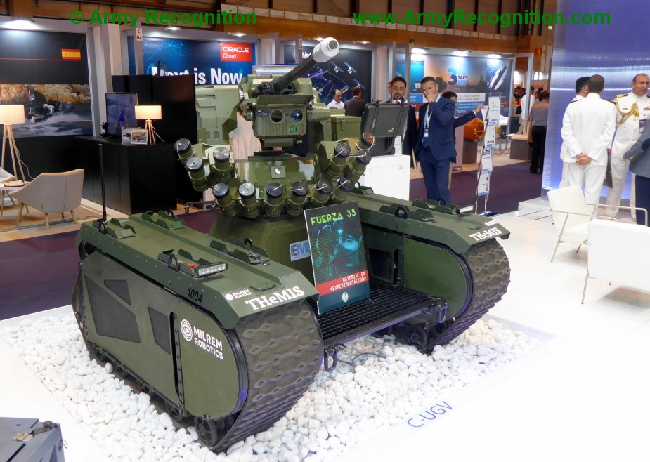 FEINDEF 2019 Escribano Mechanical and Engineering displays Guardian 2.0 RCWS on MILREM THeMIS UGV