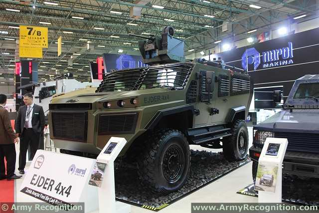 At IDEF 2013, the EJDER 4x4 is fitted with a remote weapon station armed with a 7.62 mm machine gun. Such equipment is used on modern military vehicles, as it allows a gunner to remain in the relative protection of the vehicle.