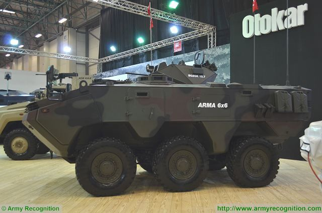 Another version of the Arma at IDEF 2017, is a 6x6 configuration chassis fitted with a one-man turret called Bozok armed with a 12.7mm machine gun.