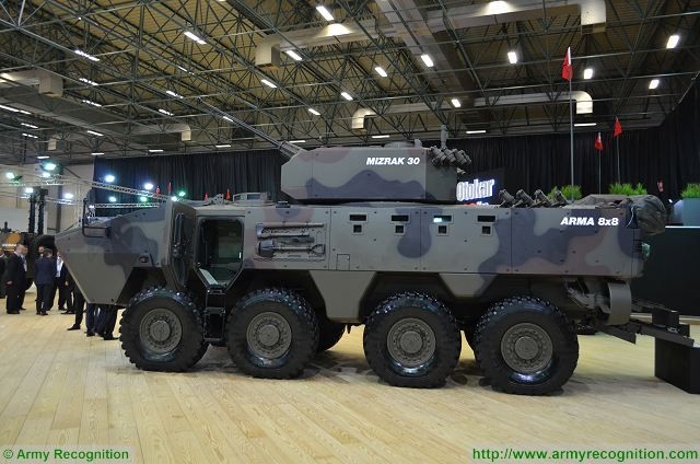 Arma 8x8 with MIZRAK 30 turret at IDEF 2017, International Defense Exhibition in Istanbul, Turkey.