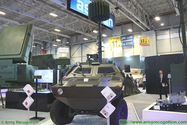 Turkish Company Aselsan presents its counter mortar radar system SERHAT mounted on the roof of Cobra 4x4 armoured vehicle at IDEF 2017, the defense exhibition in Istanbul Turkey. A counter-battery radar is a radar system that detects artillery projectiles fired by one or more guns, howitzers, mortars or rocket launchers and, from their trajectories, locates the position on the ground of the weapon that fired it.