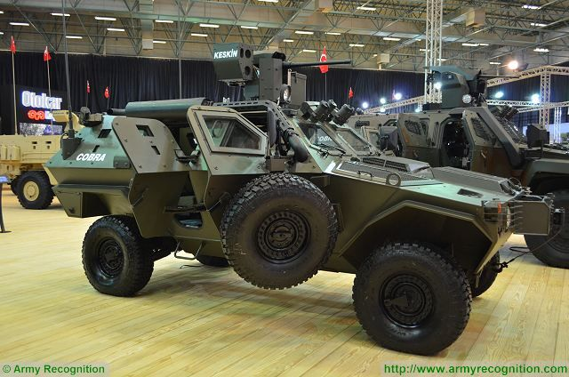 Cobra 4x4 APC with Keskin turret at IDEF 2017, International Defense Exhibition in Istanbul, Turkey.