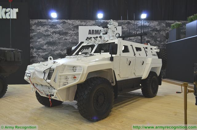 Cobra II 4x4 APC with BASOK turret at IDEF 2017, International Defense Exhibition in Istanbul, Turkey