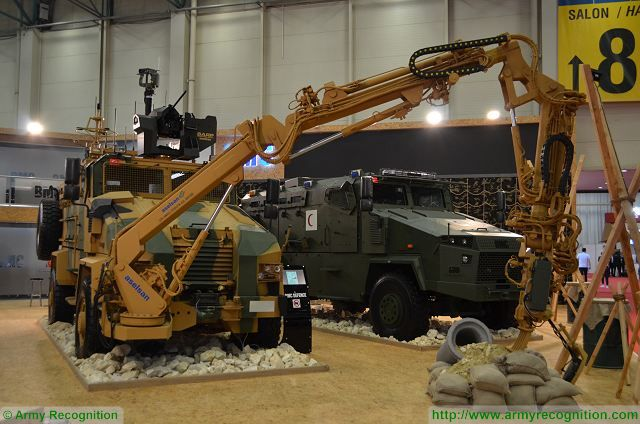 At IDEF 2017, BMC presents for the first time a 4x4 Kirpi MRAP (Mine Resistant Ambush Protected) in mine interrogation vehicle configuration. The front of the vehicle is fitted with interrogation arms system designed to provide road and convoy security against IEDs threats. The system also includes IED detection, IED interrogation, , IED Deactivation and Security management Vehicles that allows remote control.