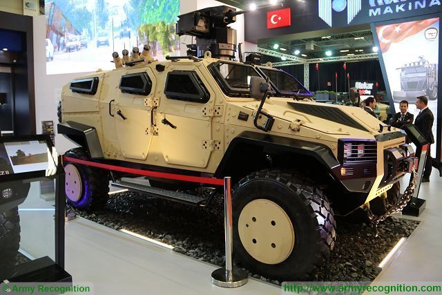 The Turkish Company Nurol Makina unveils its new 4x4 tactical protected vehicle called NMS at IDEF 2017, the International Defense Exhibition in Turkey. The design of the vehicle is based on a monocoque body.