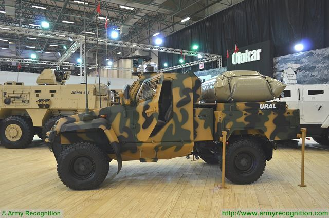 URAL light tactical armoured vehicle single cabin at IDEF 2017, International Defense Exhibition in Istanbul, Turkey.