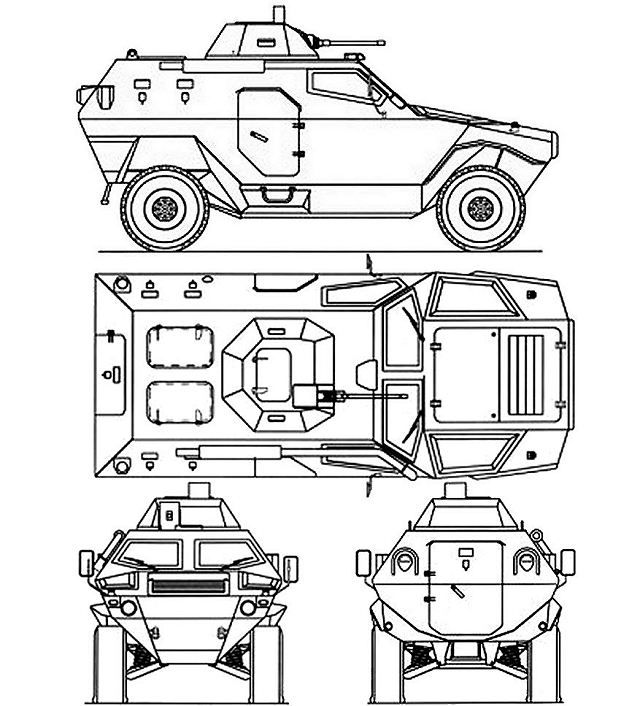 Cobra Otokar light wheeled armoured vehicle personnel carrier Turkish Army Turkey line drawing blueprint 002