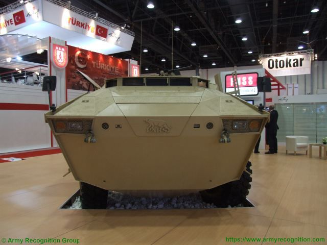 PARS 8x8 FNSS wheeled armored combat vehicle Turkish Turkey defence industry military technology front side view 001