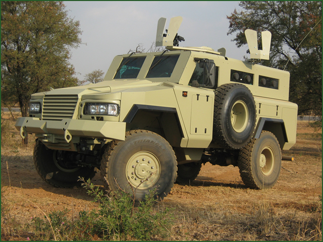 United Kingdom, London. At DSEI 2013, Osprea shows new features of its Mamba light armoured vehicle. This further development of the Mamba Mk5 range provides even higher degrees of ballistic and mine protection, excellent mobility and more manoeuvrability than ever before.