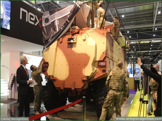 United Kingdom, London. At DSEI 2013, French manufacturer Nexter unveils its new armoured vehicle TITUS (Tactical Infantry Transport & Utility System) for the French Army tender VBMR (Véhicule Blindé Multi-Rôles).