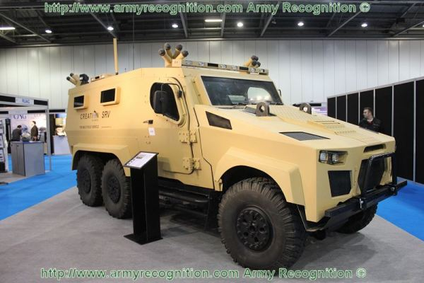 The latest production-ready variant of the company's initial in-house vehicle development, the Zephyr SRV 7.5 tonne gvw protected platform, is displayed with a range of integrated systems and equipment. The first three axle derivative is also shown, configured as a troop carrier to meet the requirements of an overseas customer.