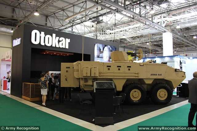 Otokar, the largest national and privately owned company of Turkish Defence Industry, presents its worldwide known armoured tactical vehicle ARMA 6x6 at Azerbaijan International Defence Industry Exhibition in Baku Azerbaijan, from 11th & 13th September, 2014. ARMA is a new generation modular multi-wheel armoured vehicle with superior tactical and technical features.