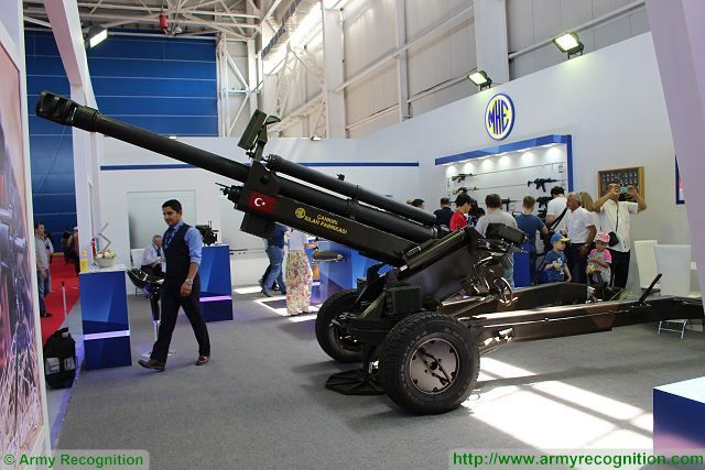 The Turkish Company MKE presents for the first time in Kazakhstan its new 105mm air transportable light towed howitzer. The new 105mm MKE towed howitzer can provides direct and indirect fire support to the forces deployed in combined arms operations.