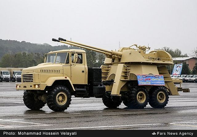 "Iran Defense Industry has developed a new wheeled self-propelled anti-aircraft gun system under the name of ""Bahman"", the vehicle was unveiled on Wednesday, April 13, 2016, during a ceremony on the occasion of the Army Day, attended by the Ground Force Commander Brigadier General Ahmad Reza Pourdastan."
