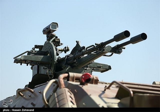 Lieutenant Commander of the Iranian Army Ground Force Brigadier General Kiomars Heidari underlined the high capabilities and advancements made by the Iranian defense industry in designing and manufacturing military equipment, and said his forces have recently received a new version of the BTR-60PB armed with 23 mm anti-aircraft twin-barreled automatic cannon.