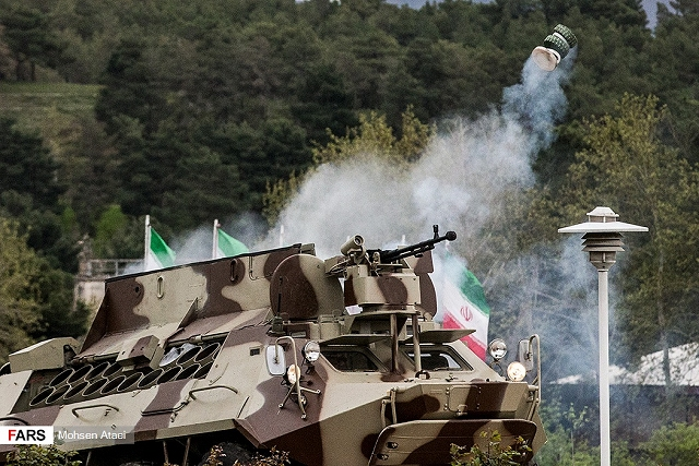 During the Iranian Army Day, local defense industry has presented the Heidar-5, a new minelayer wheeled vehicle able to launch anti-tank mines to create mine barrier based on Soviet-made BTR-60 8x8 APC (Armoured Personnel Carrier). The vehicle is equipped with an automatic firing unit located inside the vehicle.