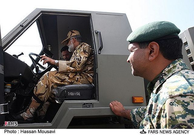 Iranian Army's Ground Force Brigadier General Ahmad Reza Pourdastan inside the new Neinava 4x4 light tactical vehicle at the Research and Self-Sufficiency Jihad Organization of the Iranian Army.