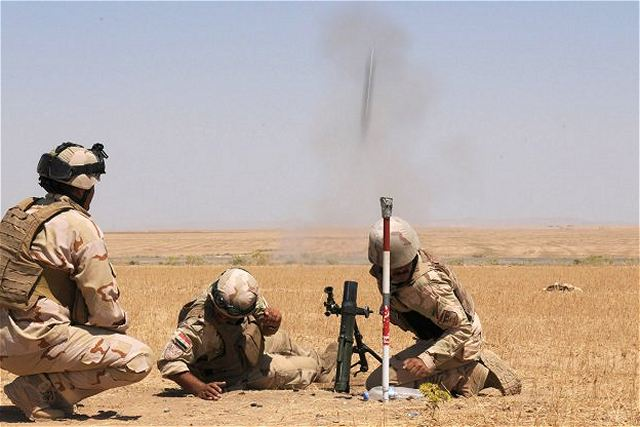 Iraqi Soldiers assigned to 1st Battalion, 10th Brigade, 3rd Iraqi Army Division, conducted a mortar live fire exercise at Destiny Range in Ninewa province with the supervision of United States Army soldiers , Iraq, June 16, 2011, in preparation for Operation Iron Lion.