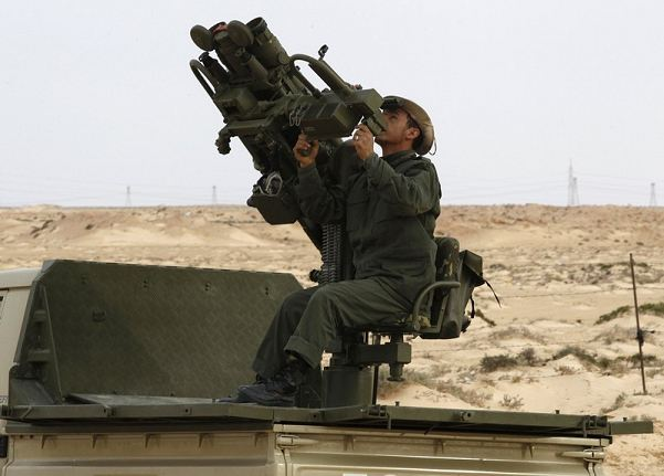 Latest generation of portable air defense missile system mounted on Strrelets set used by the Libyan armed forces. The Strelets is designed for remote automated firing of the Igla-S (SA-24 Grinch) and Igla surface-to-air missile.
