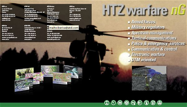 ATDI, the worldwide leader in radio planning and spectrum management solutions will be presenting its solutions at IDEX 2011 with a specific focus on electronic warfare. HTZ warfare, the flagship radio planning tool for electronic warfare, is recognized around the world as the most comprehensive and flexible solution for planning and optimizing networks all along their life cycle by managing multiple technologies simultaneously.