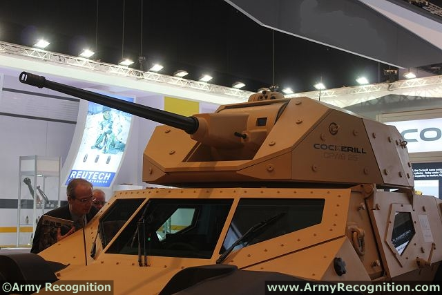 At IDEX 2013, the Belgian Defence Company CMI Defence, a world leader for the design and manufacture of weapon station presents for the first time in the Middle East, the latest generation of 20-25-30 mm Cockerill medium calibre protected weapon station CPWS mounted on the CRAB, a combat reconnaissance armoured vehicle.