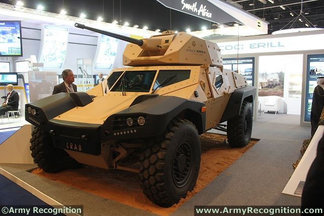 CRAB (Combat Reconnaissance Armoured Buggy) designed by the French Company Panhard Defense is a true conceptual break in the area of light armoured vehicles. CRAB is an answer to a meaningful requirement i.e. setting up again a light armoured capability within the large array of missions. So it has been designed with this platform modularity concept.