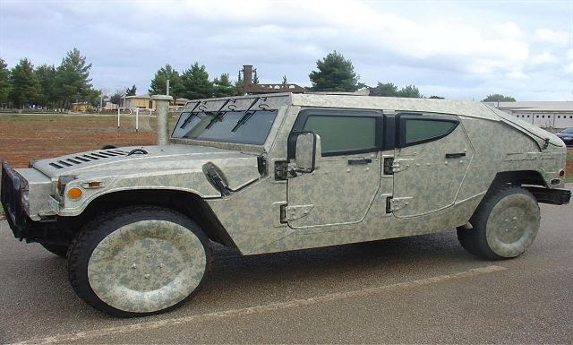Humvee 4x4 tactical vehicle covered by the Intermat self-adhesive anti-thermal and visual camouflage.