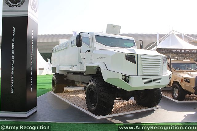 "At IDEX 2013, the International Defence Exhibition in Abu Dhabi (United Arab Emirates), the Ukrainian Company PJSC ""AutoKrAZ"" has unveiled the new KRAZ-ASV/APC Armored Personnel Carrier made in partnership with Ares Security Vehicles LLC (Dubai, UAE). Acronym KrAZ-ASV/APC consists of the names of cooperating companies. APC marking (Armored Personal Carrier) defines the family and armored vehicle purpose."