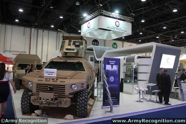 A NIMR 4x4 armoured personnel carrier is presented at IDEX 2013 covered by the paint of Intermat to reduce thermal and visual signatures. These coatings can be offered either as paint or as adhesive materials.
