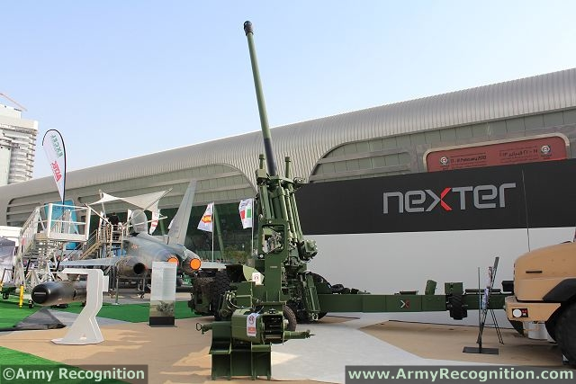 The French Company Nexter Systems presents for the first time its new 155mm/52 calibre towed gun, the TRAJAN at IDEX 2013, defence exhibition in Abu Dhabi, United Arab Emirates. Artillery systems are important part of Nexter Systems offer with the CAESAR, the highly mobile self-propelled 155mm, the 105LG lightweight towed gun which are also presented on Nexter booth.