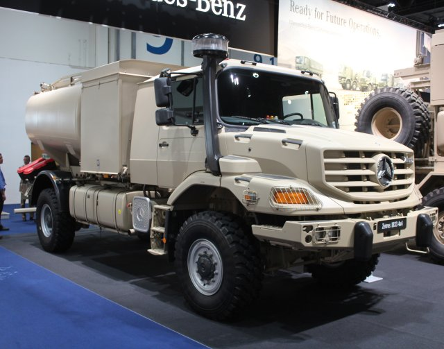 Mercedes Benz unveils new Zetros 1833A 4x4 off road truck with tank body t IDEX 2015 640 002