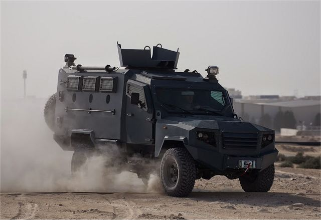 The Panthera T6 is manufactured by Minerva Special Purpose Vehicles in UAE. The vehicle is build based on a civilian Toyota Landcruiser 79-series Pick-up Truck chassis. The vehicle can be used for urban and cross-country patrol, border security and personnel movement situations (APC) for driver and commander, in addition to up to six troops with space for mission equipment.