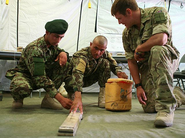International Security Assistance Force (ISAF) instructors are teaching members of the Afghan National Security Forces (ANSF) the fundamentals of identifying and countering improvised explosive devices on a new course at Camp Leatherneck in Helmand province.