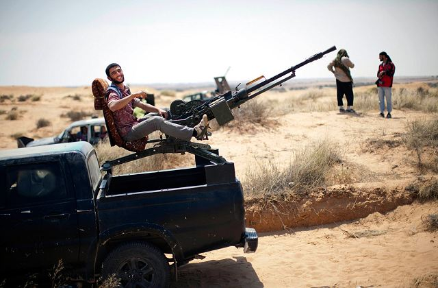 To increase the fire power and the mobility of Libyan rebel fighters, many types of machine guns and light heavy weapons are mounted at the rear of light pickup, as ZPU-1, ZPU-2, ZPU-4 and ZU-23-2 light anti-aircraft gun.