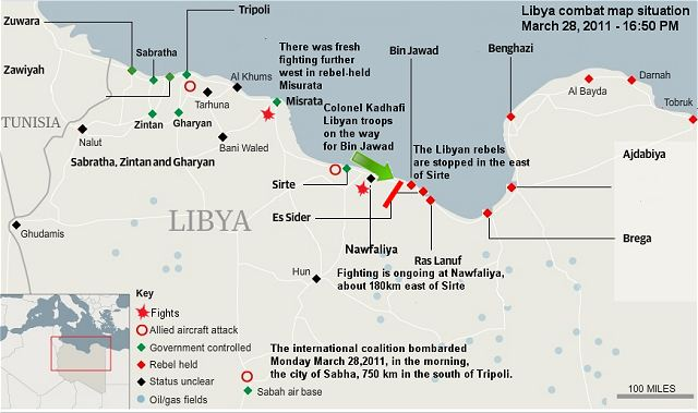 Libyan Rebels are attempting to seize control of Muammar Gaddafi's hometown, but government forces are gathered to stop them.. Combat map situation 28 March 2011