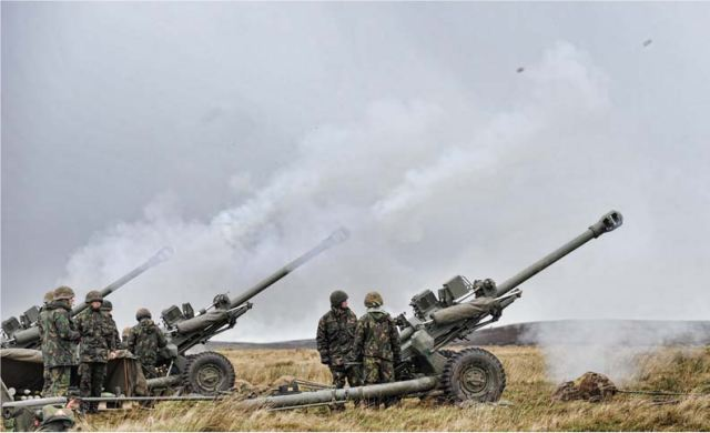 Members of 7th Parachute Regiment Royal Horse Artillery firing 105mm L118 Light Guns during Exercise Eagles Resolve