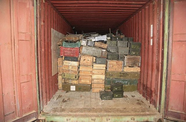 Crates of ammunition are seen inside one of the three freight containers that were found on the ship Letfallah II after it was intercepted off Lebanon's northern coast and diverted to Selaata port, north of Beirut, and later transferred to the naval base at the port of Beirut, in this handout picture released by the Lebanese Army website on April 28, 2012