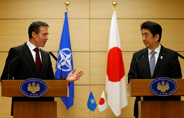 Visiting Secretary General of the North Atlantic Treaty Organization (NATO) Anders Rasmussen and Japanese Prime Minister Shinzo Abe met here Monday, April 15, 2013, to boost bilateral cooperation in security area, local media reported.
