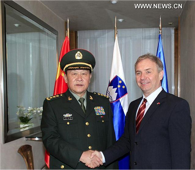 Slovenia's Prime Minister Janez Jansa met visiting Chinese Defense Minister Liang Guanglie in Ljubljana on Wednesday, January 10, 2013.. During the meeting, Jansa said his country regarded China as its strategic cooperation partner and highly values its cooperation with China on defense and military.