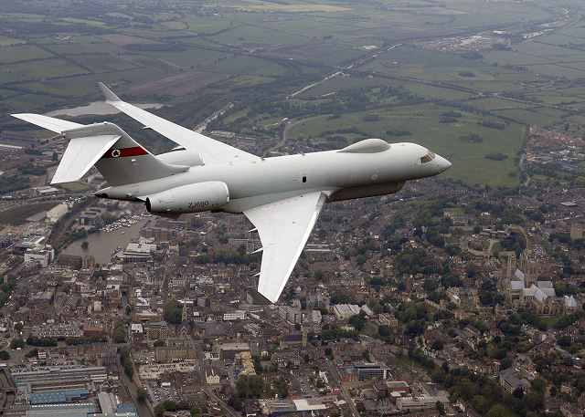 An ASTOR Sentinel R1 surveillance aircraft of British Royal Air Force. These aircraft can detect and recognise moving, static and fixed targets on the ground and are capable of operating for over nine hours at a time.