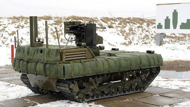 The new Russian unmanned ground mobile security robot Taifun-M, designed to provide security at strategic missile facilities, has been shown on the Russian Vesti news program.