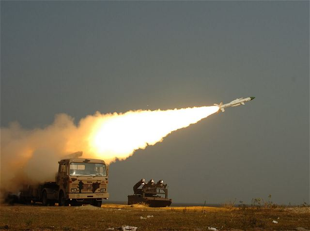 For the second day, India on Wednesday, August 14, 2014, successfully conducted trial of its indigenously developed surface-to-air 'Akash' missile, which has a strike range of 25 km, from a test range in Odisha as part of a user trial by the Air Force.