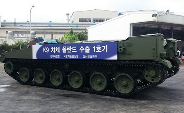 First Korean Chassis for Polish Krab 155 mm self-propelled howitzer send to Poland 640 001