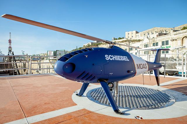 Schiebel Camcopter S-100 UAV assists in the rescue of refugees in the Mediterranean 640 001