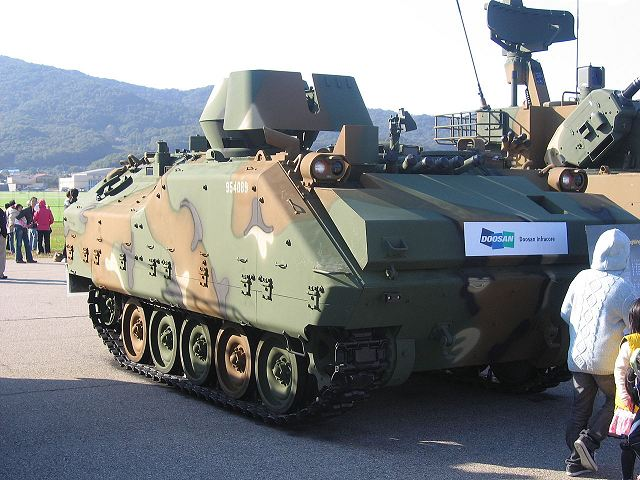 According to Janes, the Belgian Company CMI Defence and Doosan of South Korea have signed a partnership agreement for a joint development of a new light/medium weight armoured vehicle based on the chassis of the South Korean light tracked armoured personnel carrier KIFV, fitted with CMI Defence Cockerill Protected Weapon Station (CPWS).