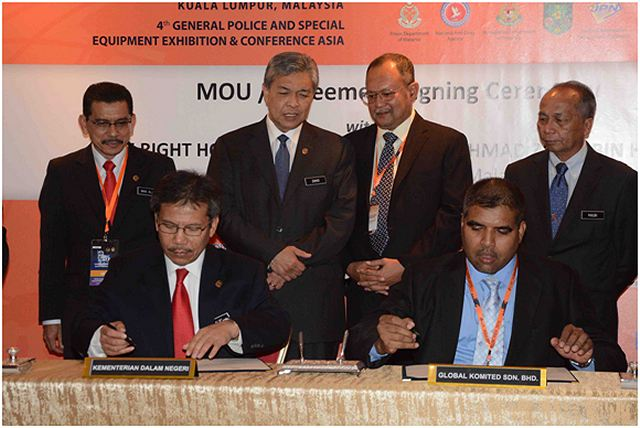Global Komited Sdn Bhd, a subsidiary ofThe Weststar Group, a leader in automotive defense and special equipment sectors today signs a contract agreement with the Ministry of Home Affairs Malaysia for the procurement of eight units of IAG's 4x4 Armoured Personnel Carriers Jaws at the 4th General Police and Special Equipment Exhibition and Conference 2015 (GPEC ASIA 2015).