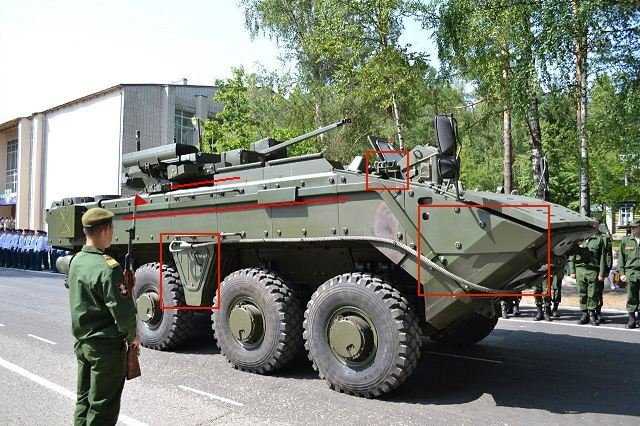During a military parade for the 75th anniversary of Russian Ministry of Defense scientific-testing experimental artillery range in Smolino (Nizhny Novgorod region),Russia, a new prototype version of the K-16 APC and K-17 BTR Bumerang armoured vehicles were presented to the public.