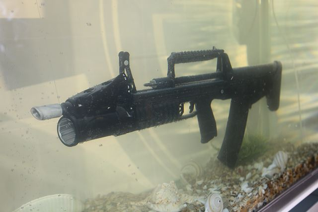 Russian Navy special forces have taken on strength the advanced ADS dual-environment assault rifle developed by the Instrument Design Bureau (KBP) in Tula, according to the Izvestia daily. The sophisticated weapon is effective both under water and on land. Unlike the current foreign and Russian underwater weapons firing needle-type ammunition stable in water but inaccurate in the air, the ADS's unique projectiles remain accurate in both media.