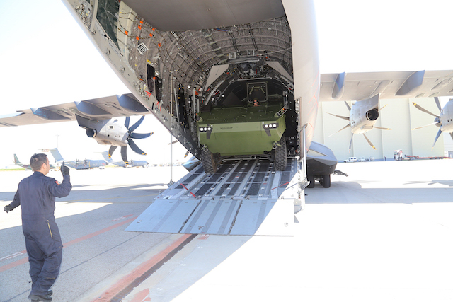 GDELS and Airbus test loaded a Piranha V in an A400M